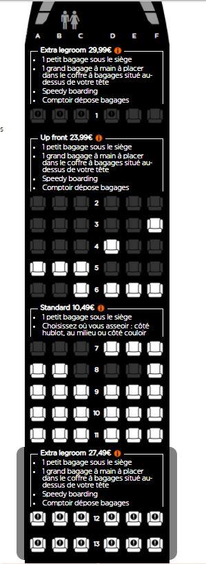 Sièges Easyjet avec bagages